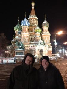 Dr. Michael Claar und Andreas Witt bei -25°C auf dem Roten Platz in Moskau anlässlich einer Schulung für russische Zahnärzte 2012